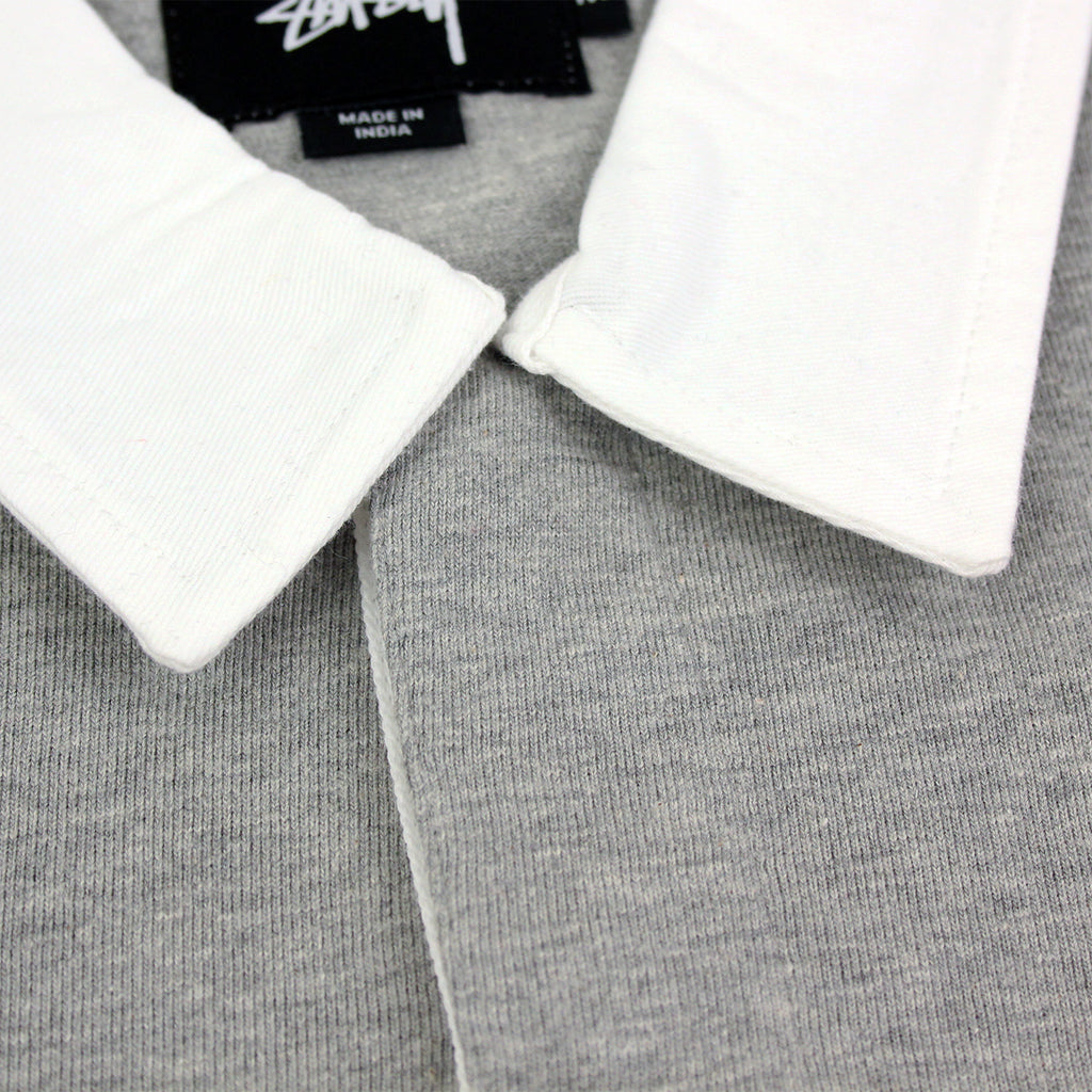 Stussy 3 Tone Polo in Heather Grey - Collar