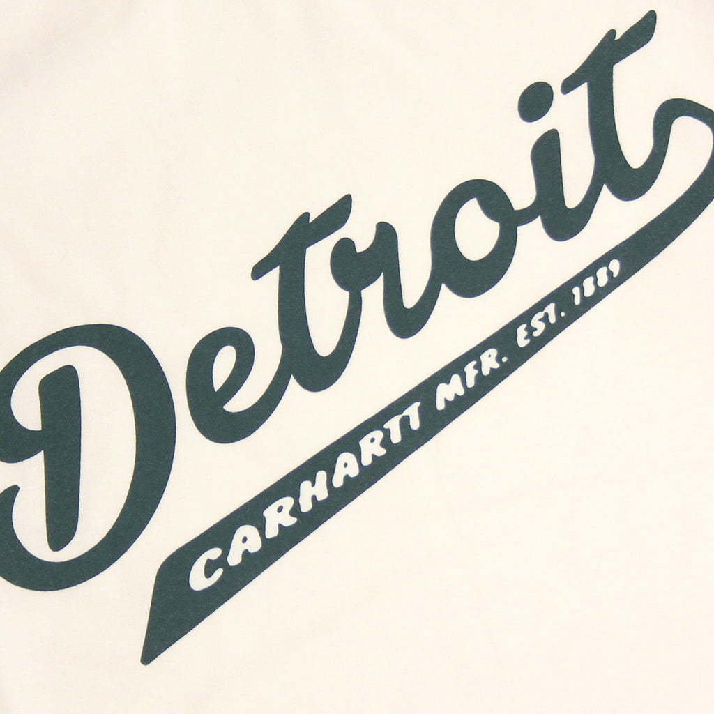 Carhartt WIP Detroit Script L/S T Shirt in White / Parsley - Print detail