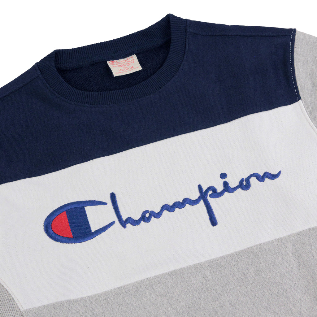 Champion 3 Panel Crew Neck Sweatshirt in Oxford Grey / White / Navy - Detail