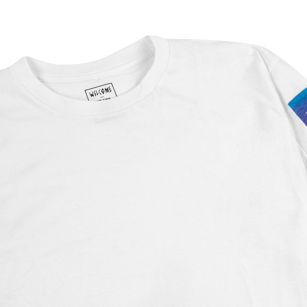 Welcome Skateboards Scrawl Bar L/S T Shirt in White / Pink / Blue - Detail