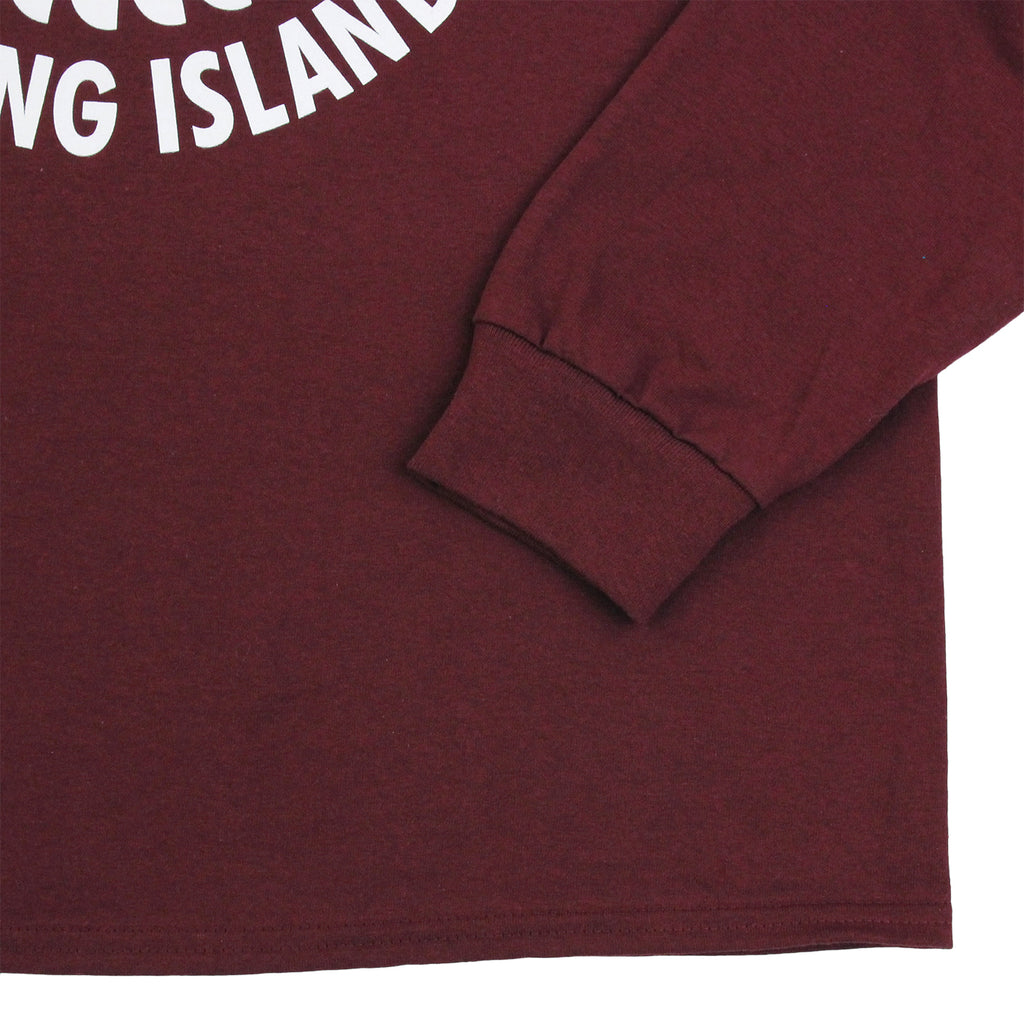 outhsea Bronx Strong Island Long Sleeve T Shirt in White on Maroon - Cuff