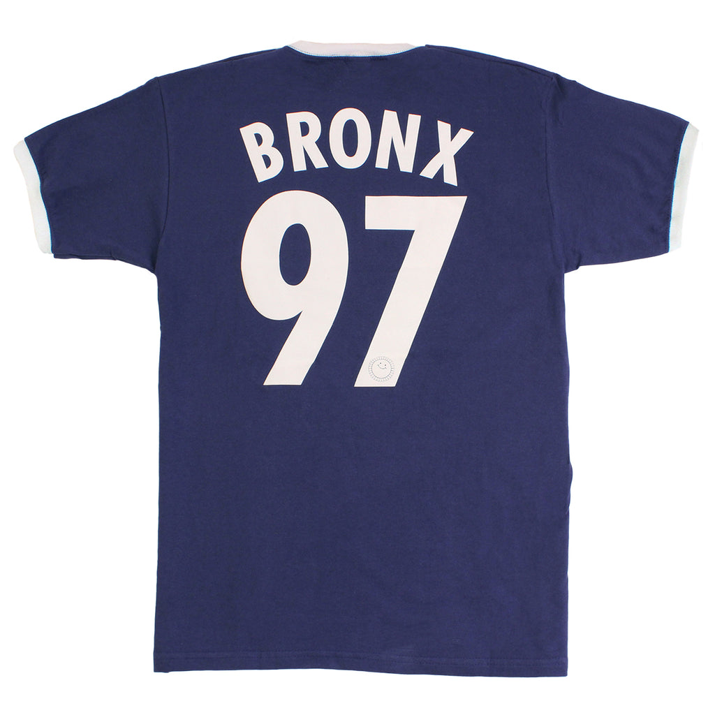 Southsea Bronx Strong Island Football T Shirt in Navy / White  - Back