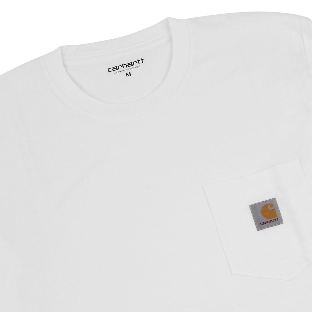 Carhartt WIP Pocket L/S T Shirt in White - Detail