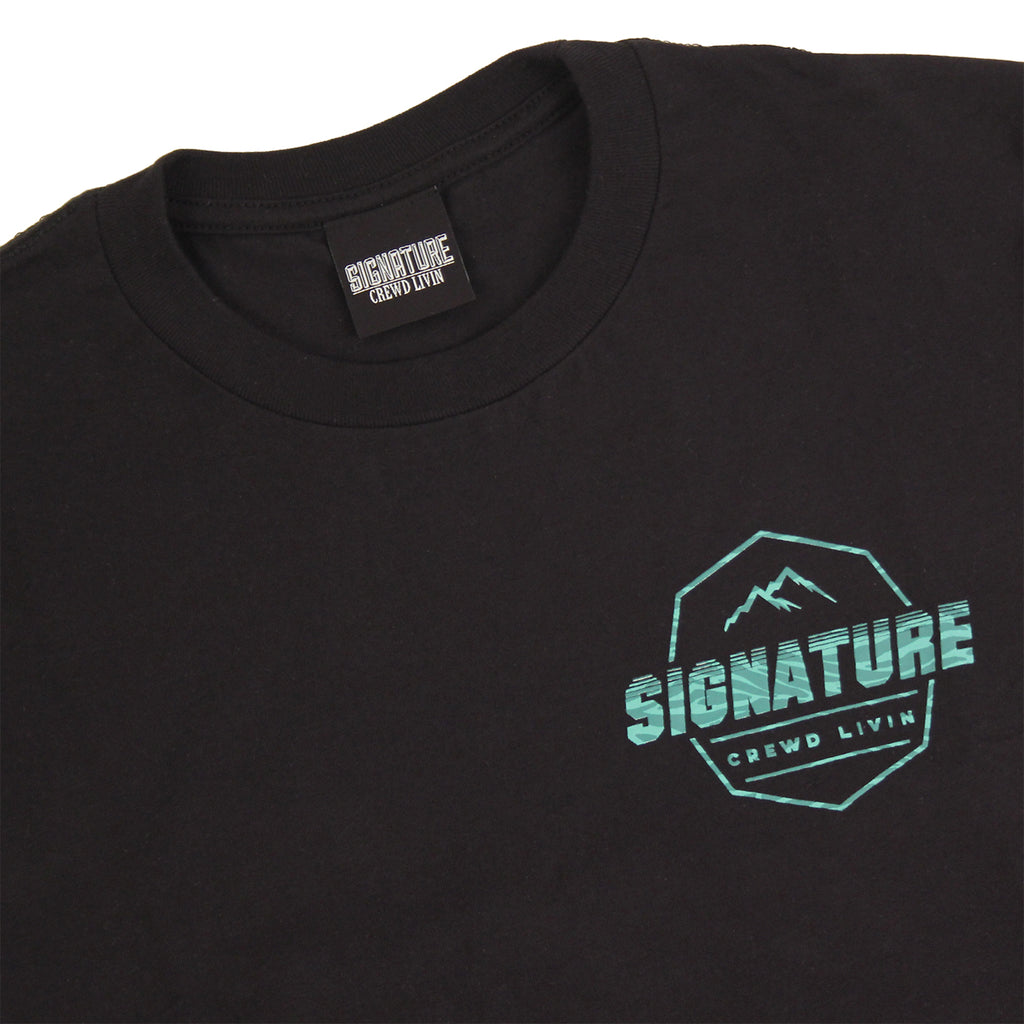 Signature Clothing Jungle Mach Peak T Shirt - Black / Teal - Front detail