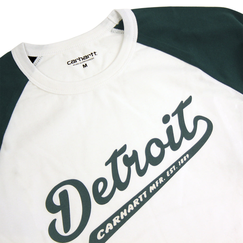 Carhartt WIP Detroit Script L/S T Shirt in White / Parsley - Detail
