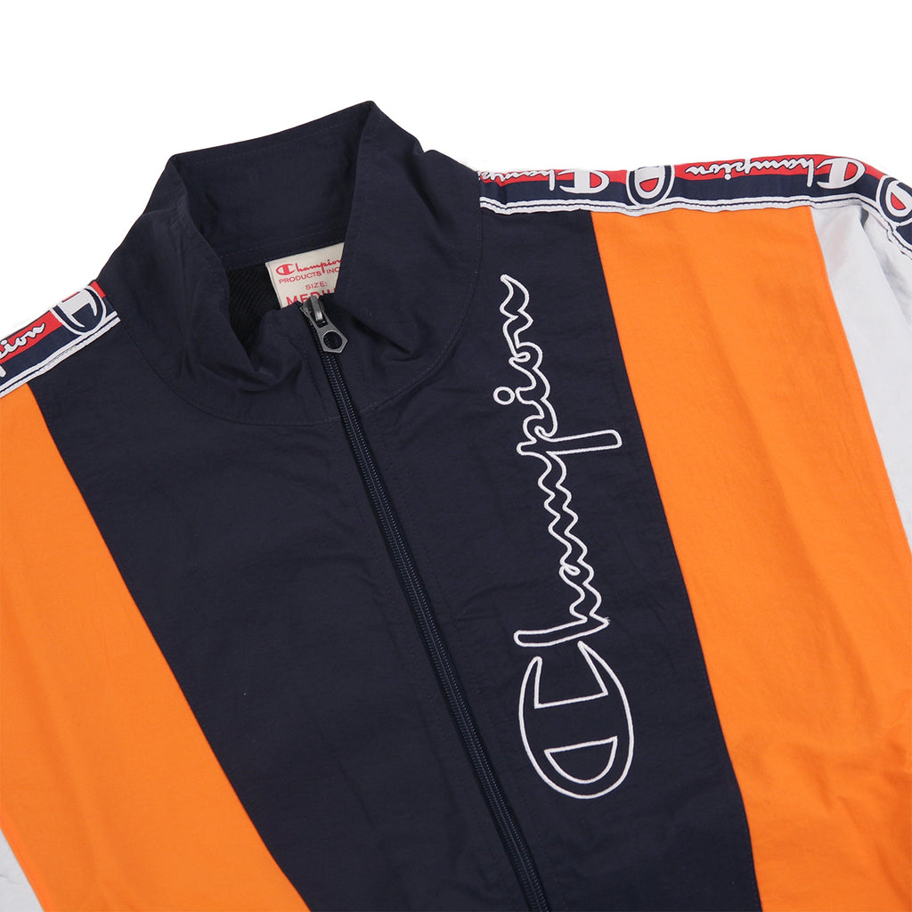 Champion Reverse Weave Taped Track Jacket in Navy / Bright Orange / White - Detail