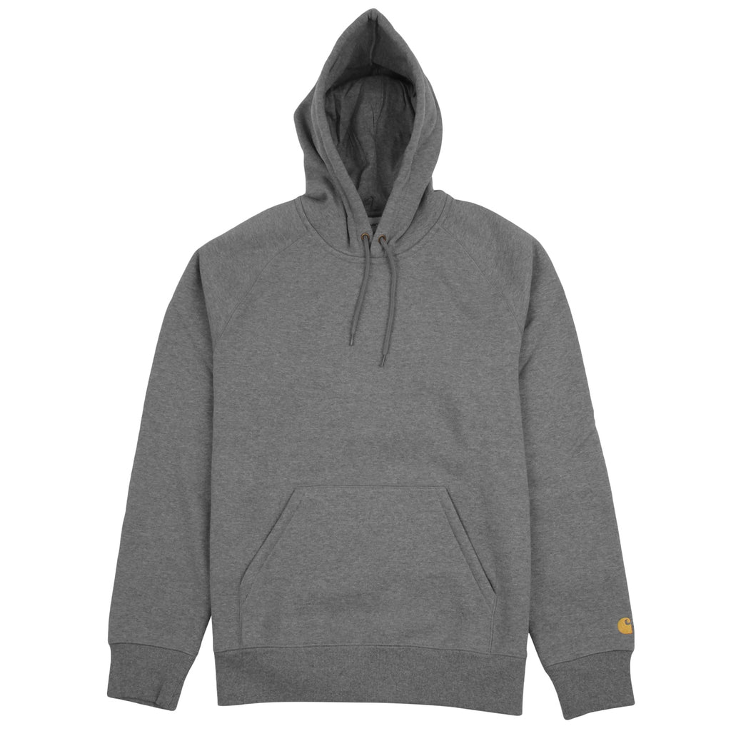 Carhartt WIP Hooded Chase Sweat Hoodie in Dark Grey Heather / Gold