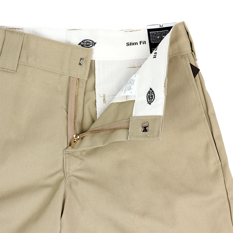 DICKIES SLIM 13 INCH WORK SHORT KHAKI - Zipper