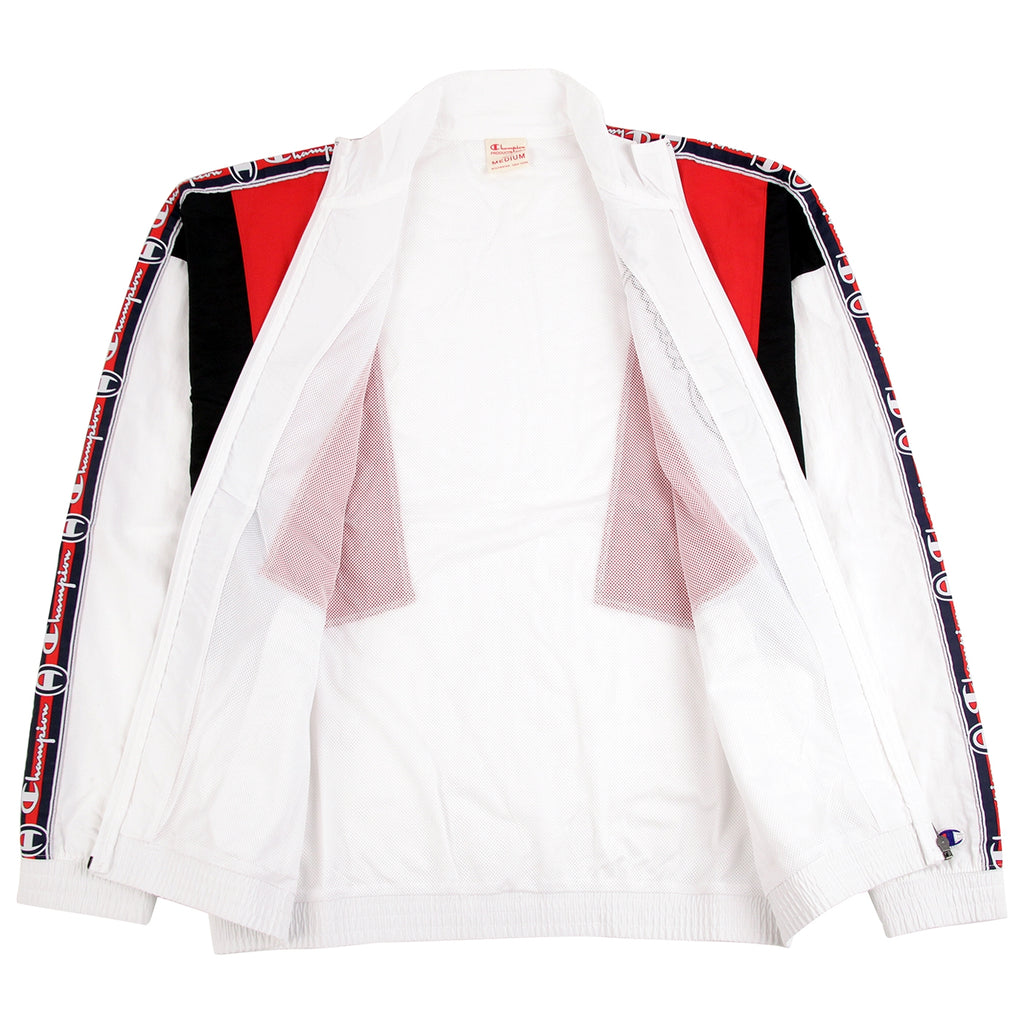 Champion Reverse Weave Taped Track Jacket in White / Red / Black - Open