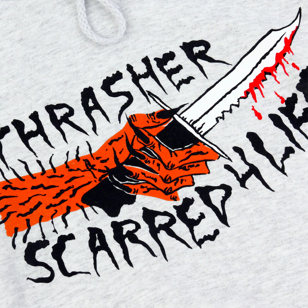 Thrasher Scarred 4 Life Hoodie in Ash Grey - Print