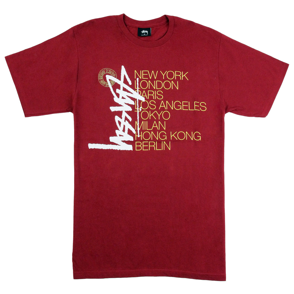 Stussy Buana Stack T Shirt in Dark Red