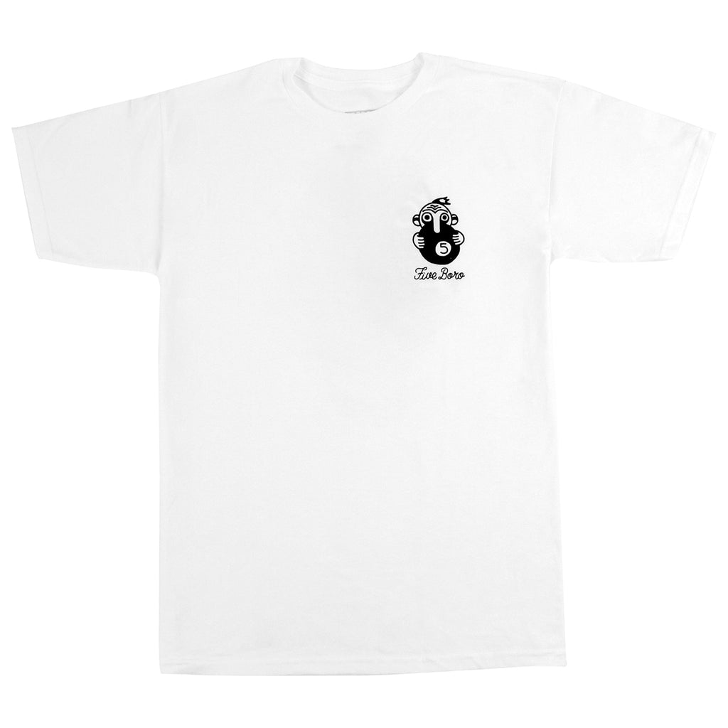 5Boro 5 Ball T Shirt in White - Front