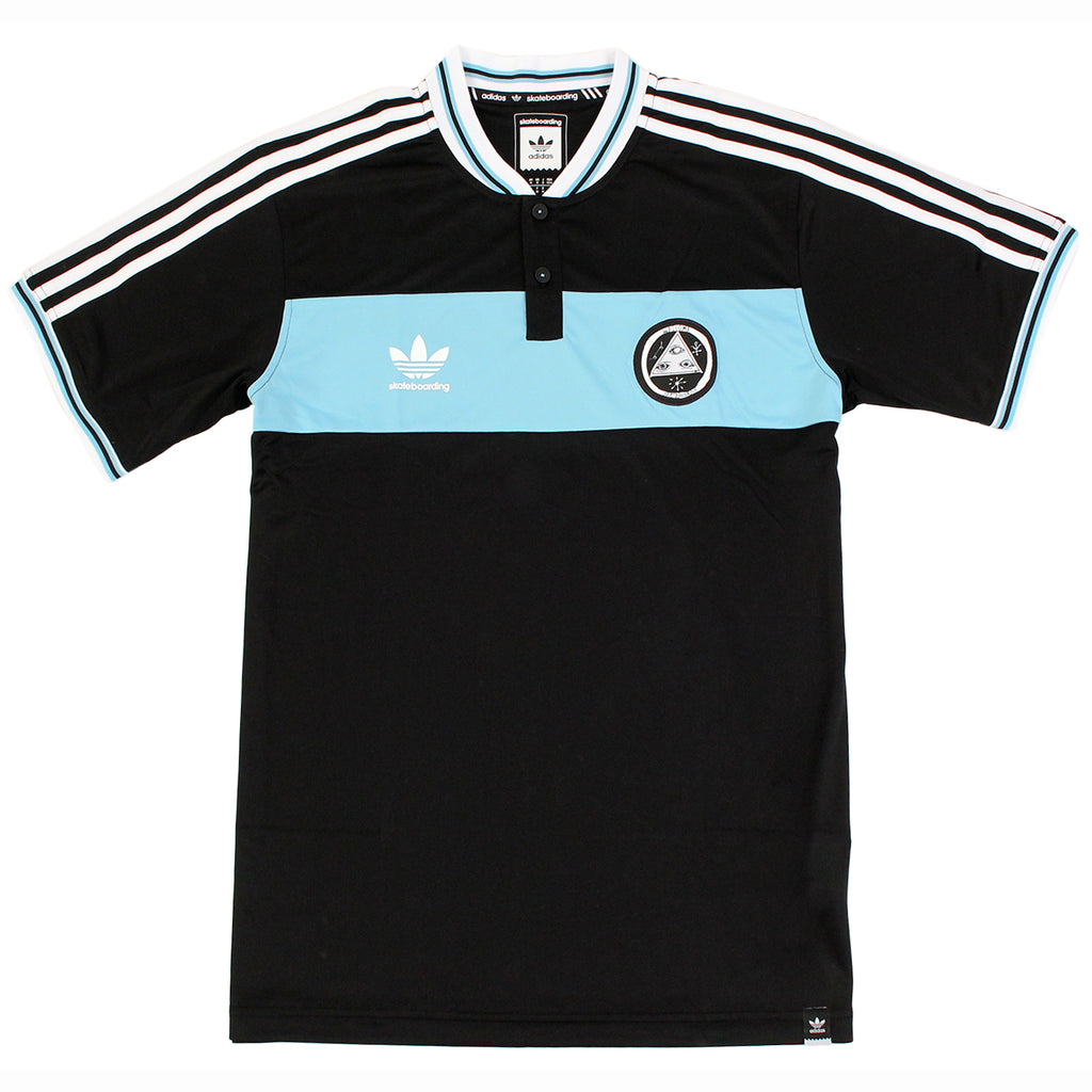 Adidas Skateboarding x Welcome Jersey in Black / Light Aqua