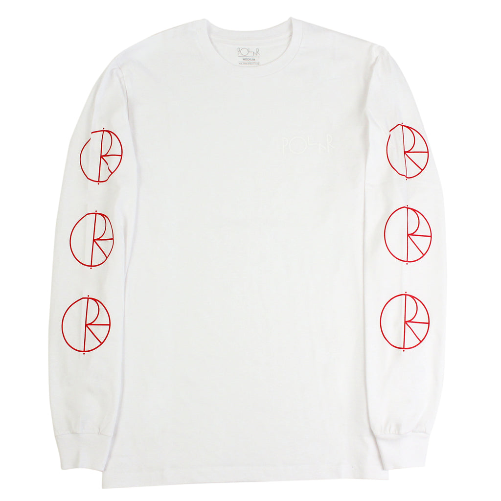 Polar Skate Co Racing L/S T Shirt in White / Red / White - Sleeves