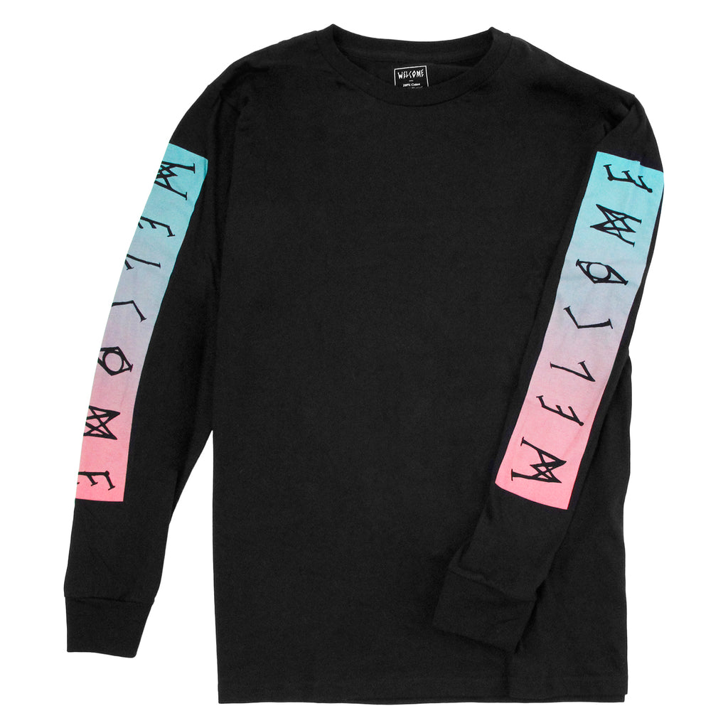 Welcome Skateboards Scrawl Bar L/S T Shirt in Black / Teal / Pink - Detail