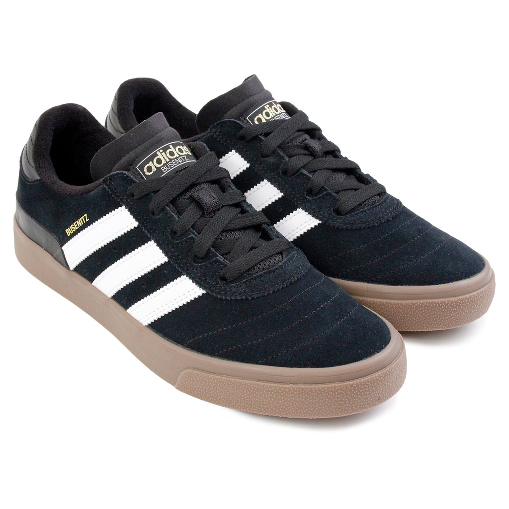Adidas Skateboarding Busenitz Vulc Shoes in Core Black / FTW White / Gum - Paired