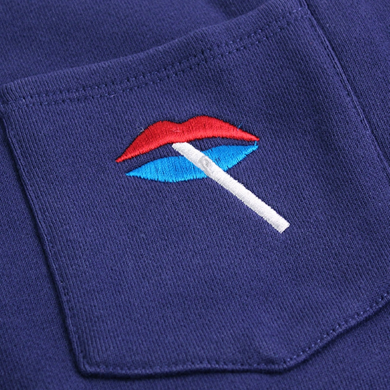Palace Lips Pocket Crew in Blue - Detailing