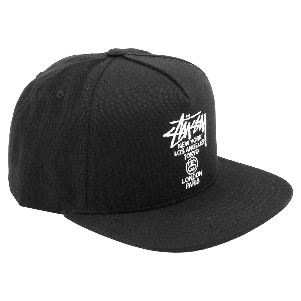 Stussy World Tour Canvas Snapback Cap in Black