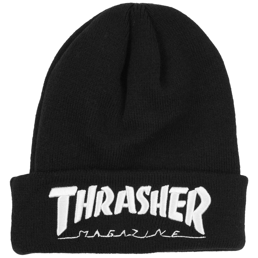 Thrasher Embroidered Logo Beanie in Black / White
