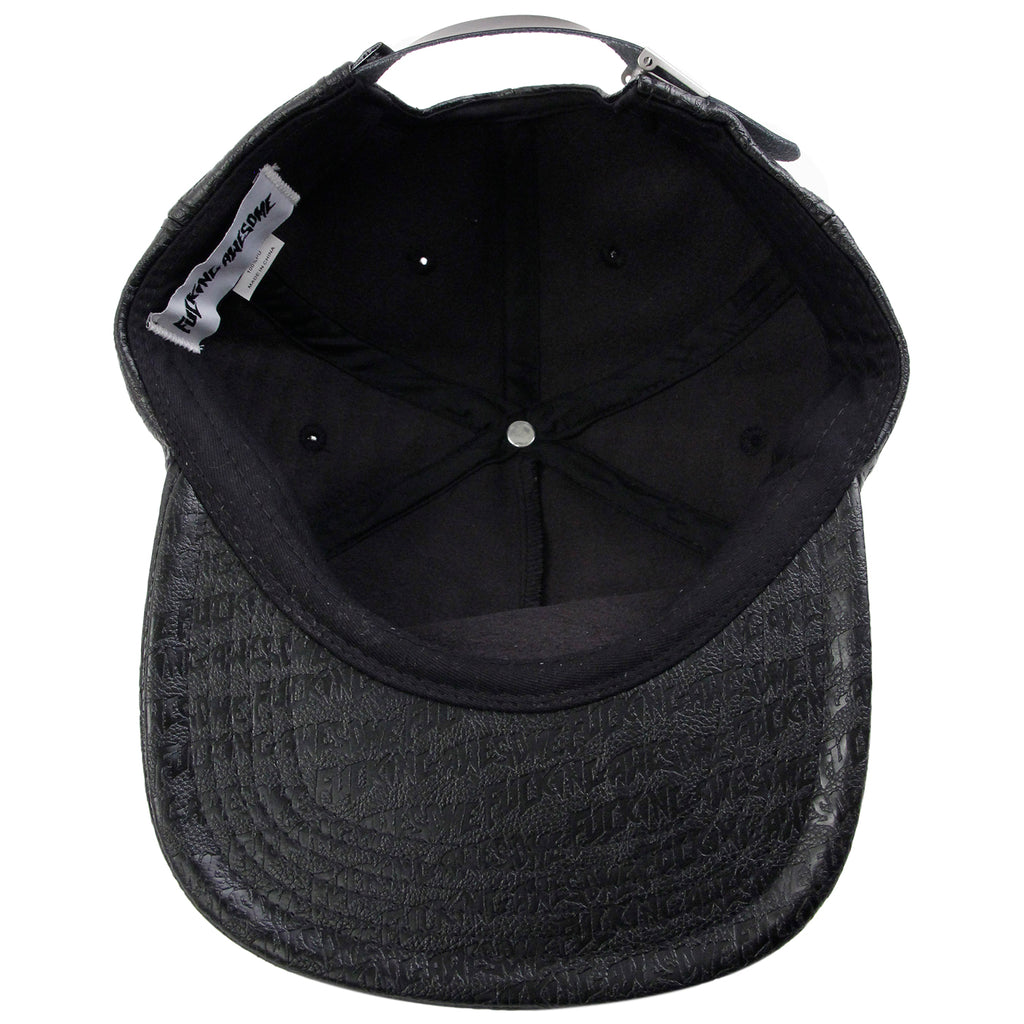 Fucking Awesome Embossed Leather 5 Panel Cap in Black - Inside
