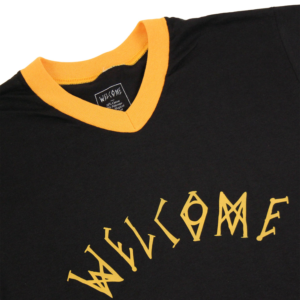 Angels Baseball Ringer T Shirt in Black/Yellow by Welcome Skateboards - Collar