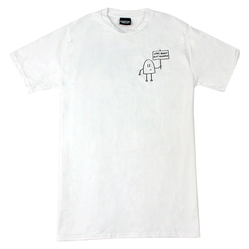Signature Clothing Stay Quiet Plot Revenge T Shirt in White - Front