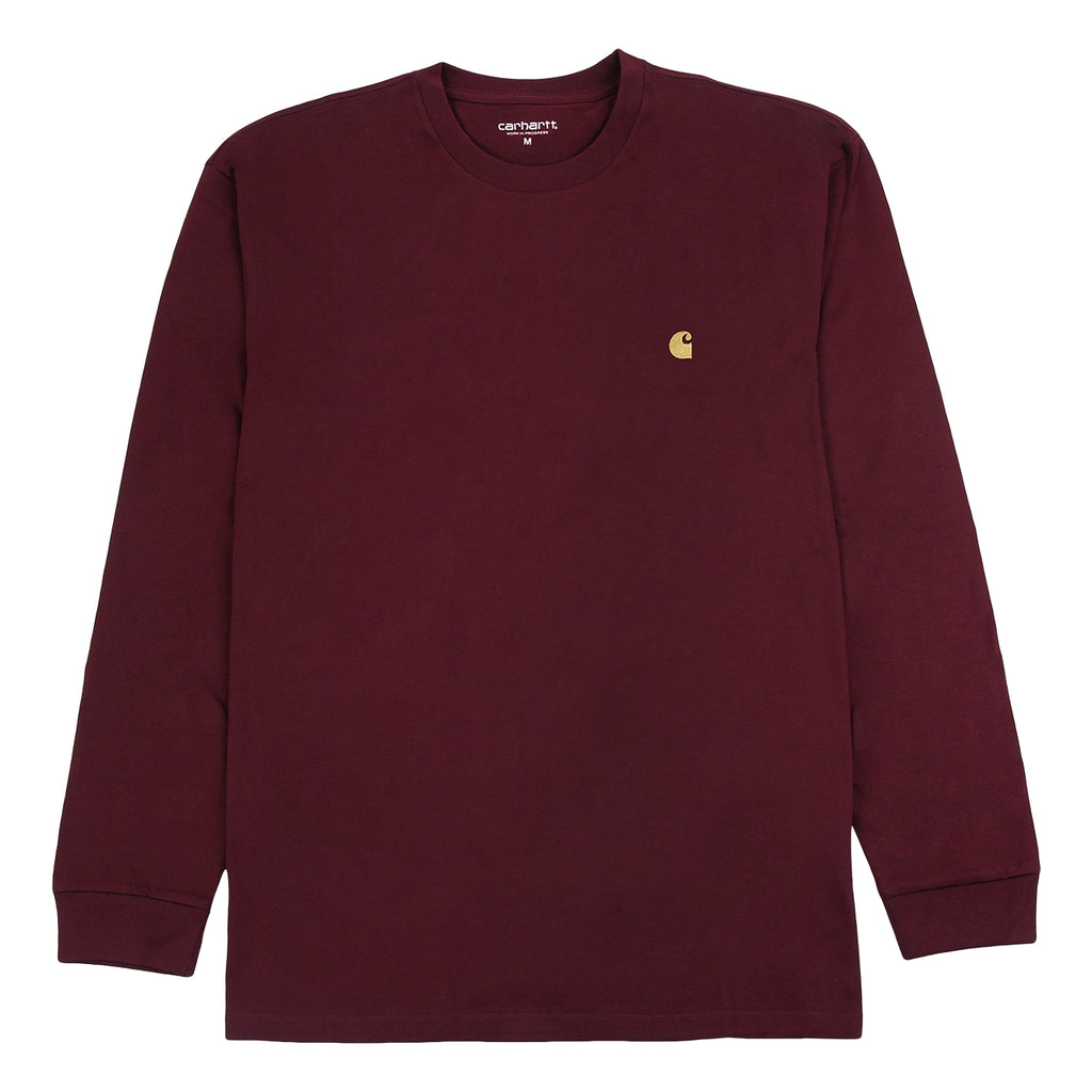 Carhartt L/S Chase T Shirt in Mulberry / Gold