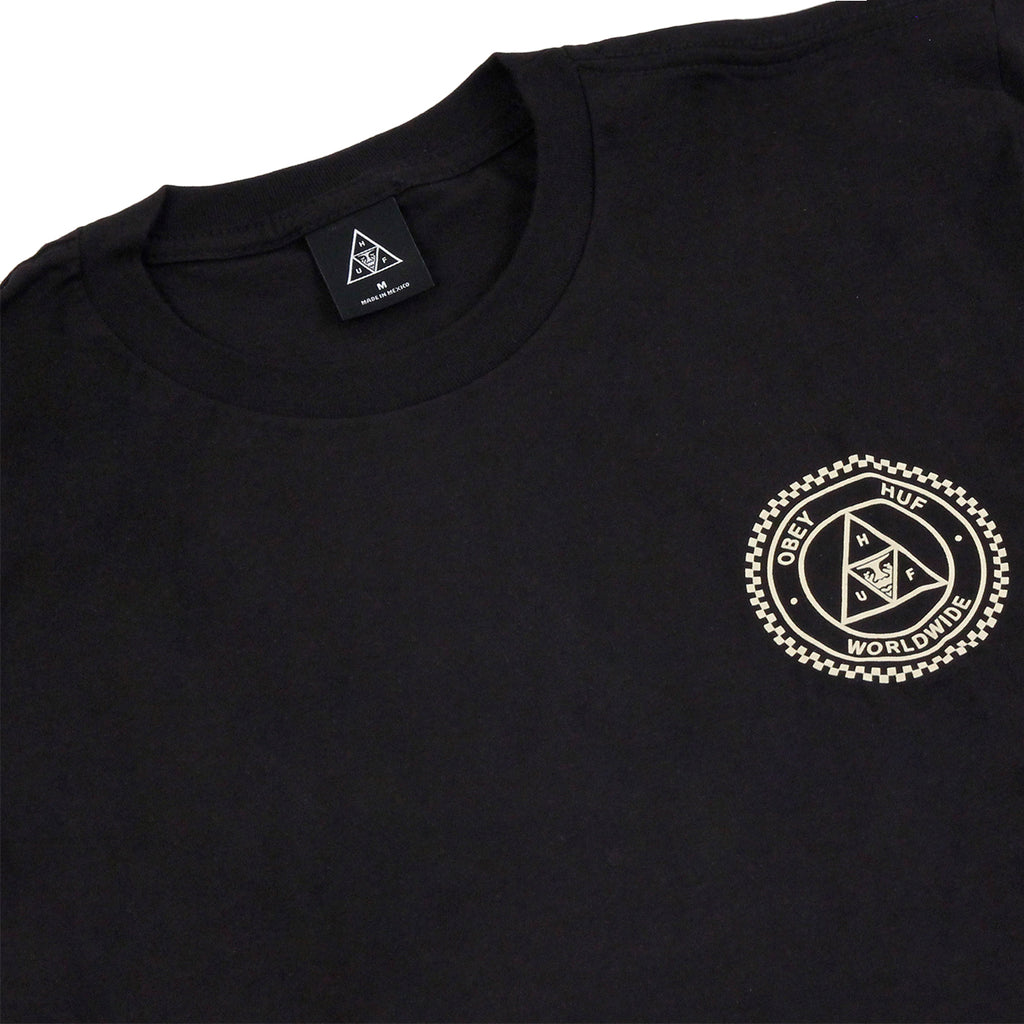 HUF x Obey Rat Race L/S T Shirt in Black - Detail