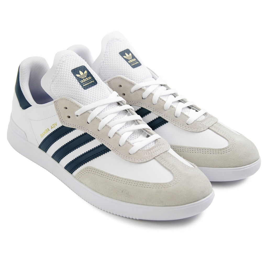 Adidas Skateboarding Samba ADV Shoes in Footwear White / Collegiate Navy / Gold Metallic - Pair