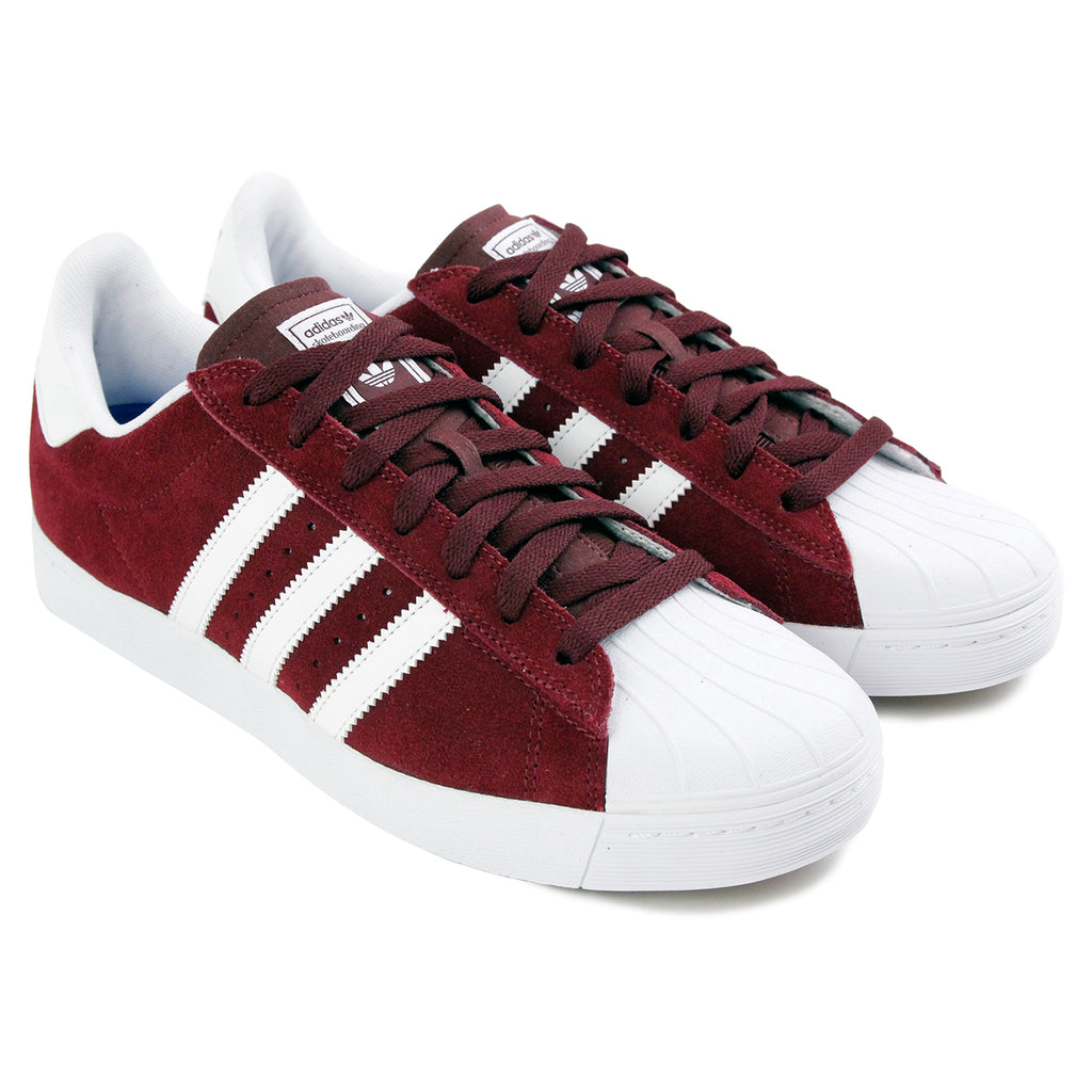 Adidas Skateboarding Superstar Vulc ADV Shoes in Maroon / FTW White / FTW White - Paired