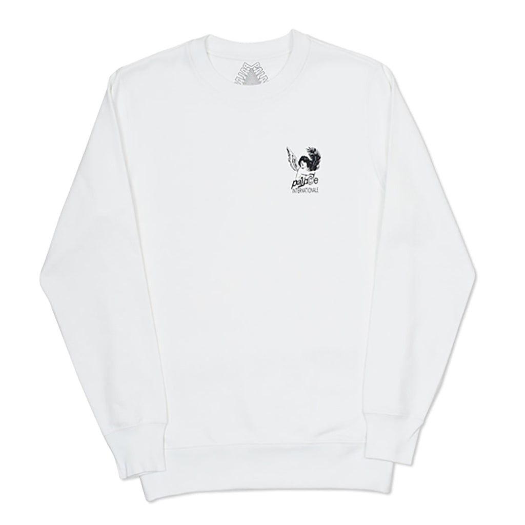 Palace Cherub Frame Crew in White - Front