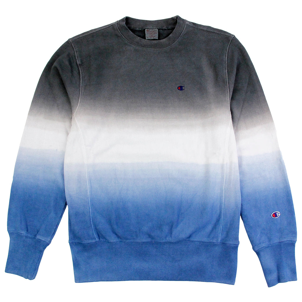 Champion Dip Dyed Classic Crew Neck Sweatshirt in Navy / White / Blue