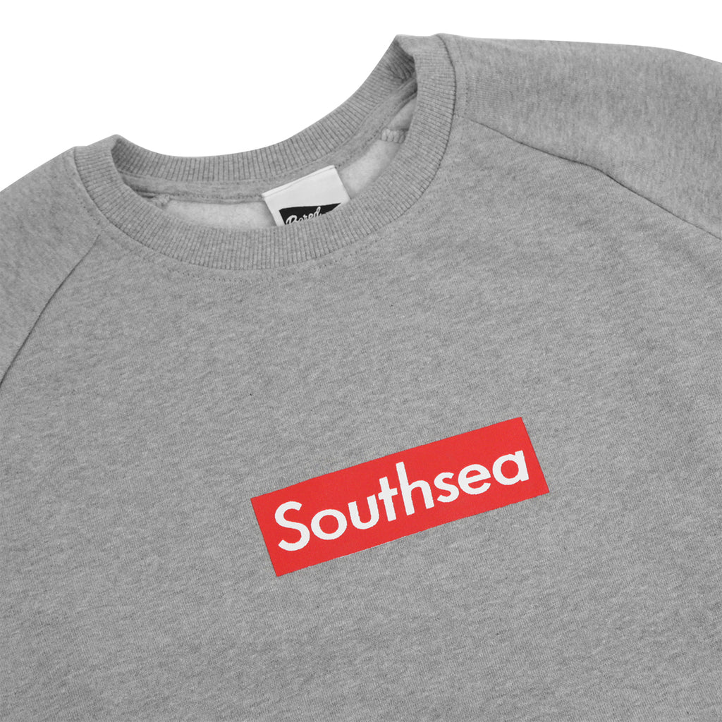 "Bored of Southsea ""Southsea"" Sweatshirt in Heather Grey / Red Box - Details"