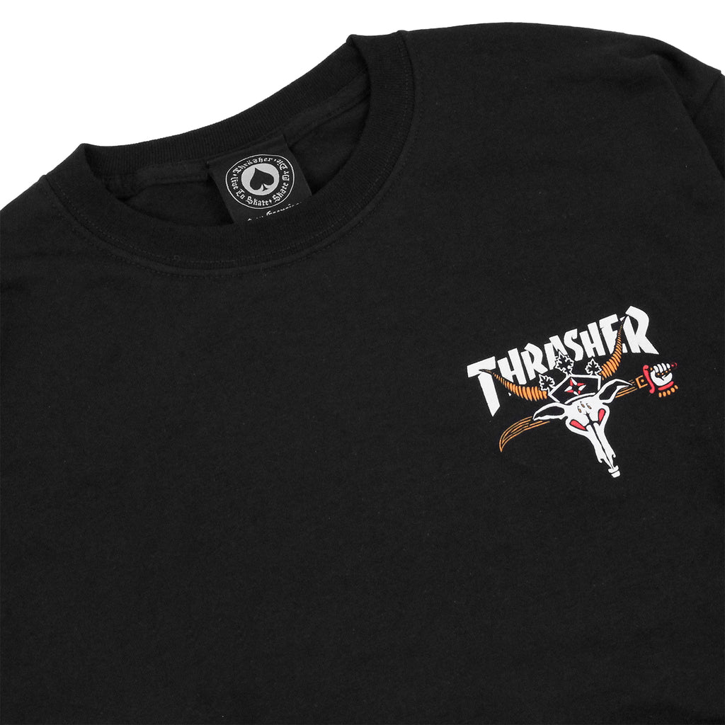 Thrasher King Of Diamonds L/S T Shirt in Black - Detail