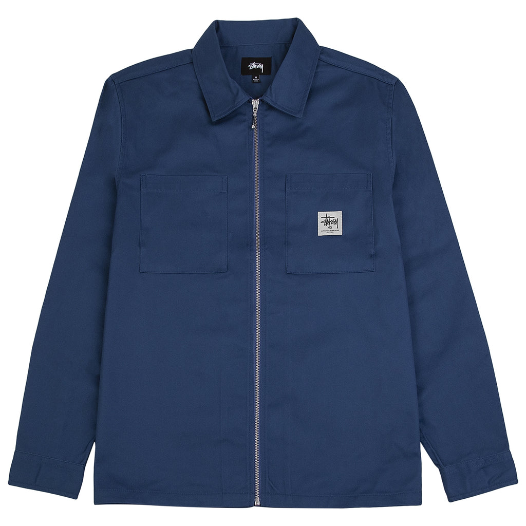 Stussy Zip Up Work Shirt in Steel