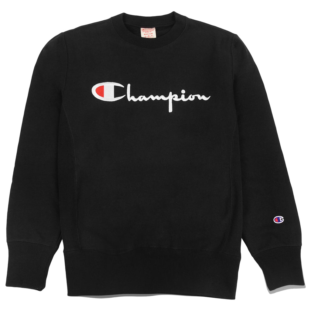 Champion Reverse Weave Script Logo Crew Sweatshirt in Black