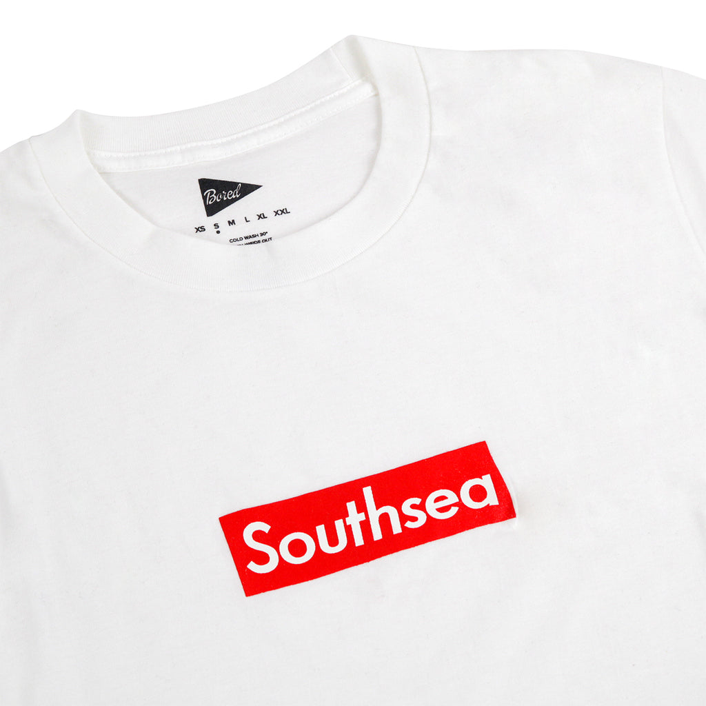 "Bored of Southsea ""Southsea"" T Shirt in White / Red Box - Detail"