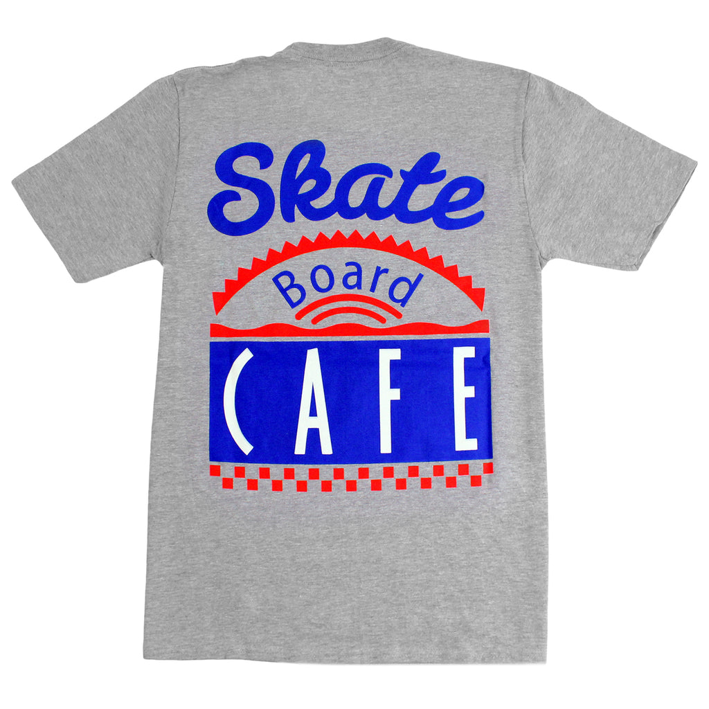 Skateboard Cafe Diner T Shirt in Heather Grey