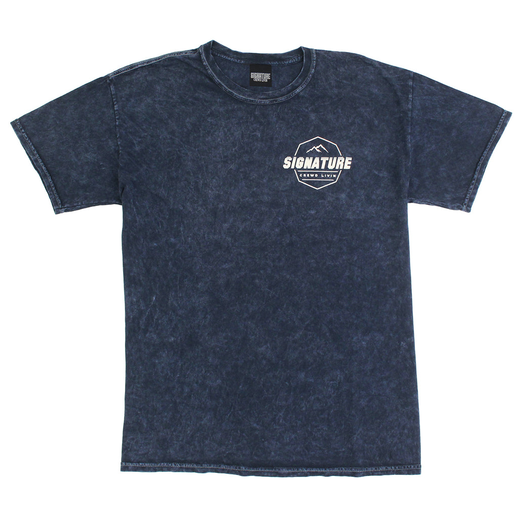 Signature Clothing Mach Peak Logo T Shirt in Navy Mineral Wash - Front