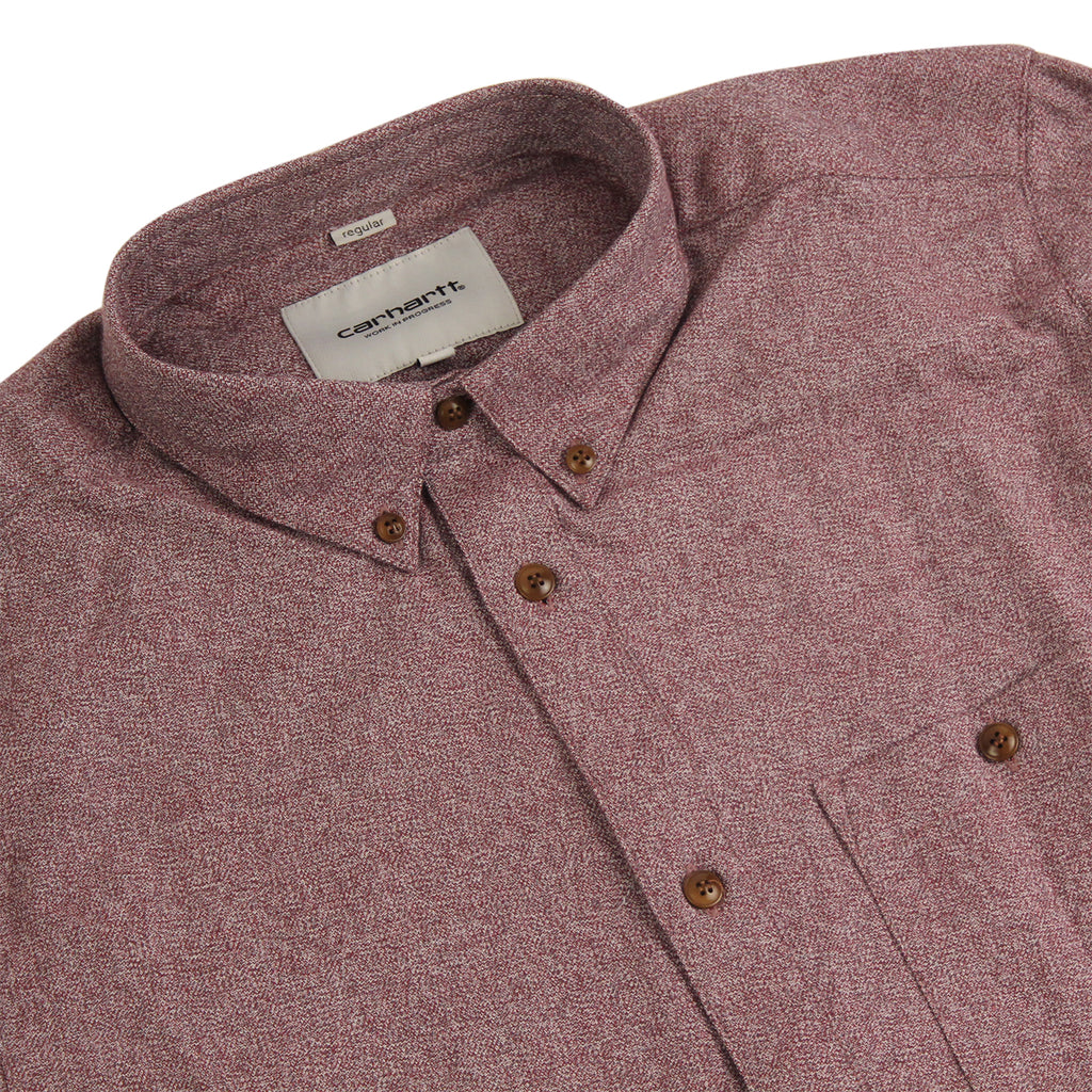 Carhartt L/S Cram Shirt in Cranberry - Detail