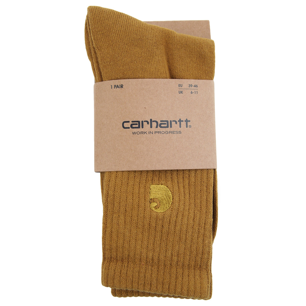Carhartt Chase Socks in Hamilton Brown / Gold - Detail