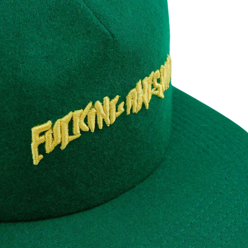 Fucking Awesome Classic Logo Wool Snapback in Green - Detail