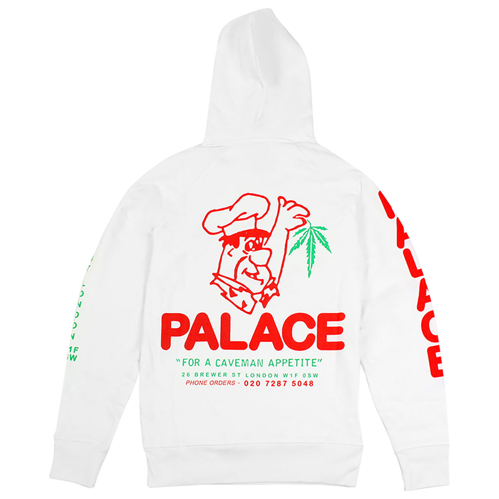 Palace Caveman Hoodie in White - Back