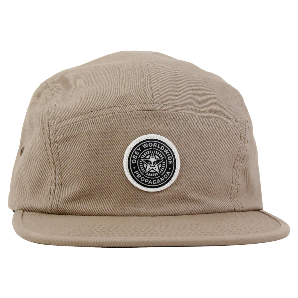 Obey Clothing Icon 5 Panel Cap in Khaki - Front