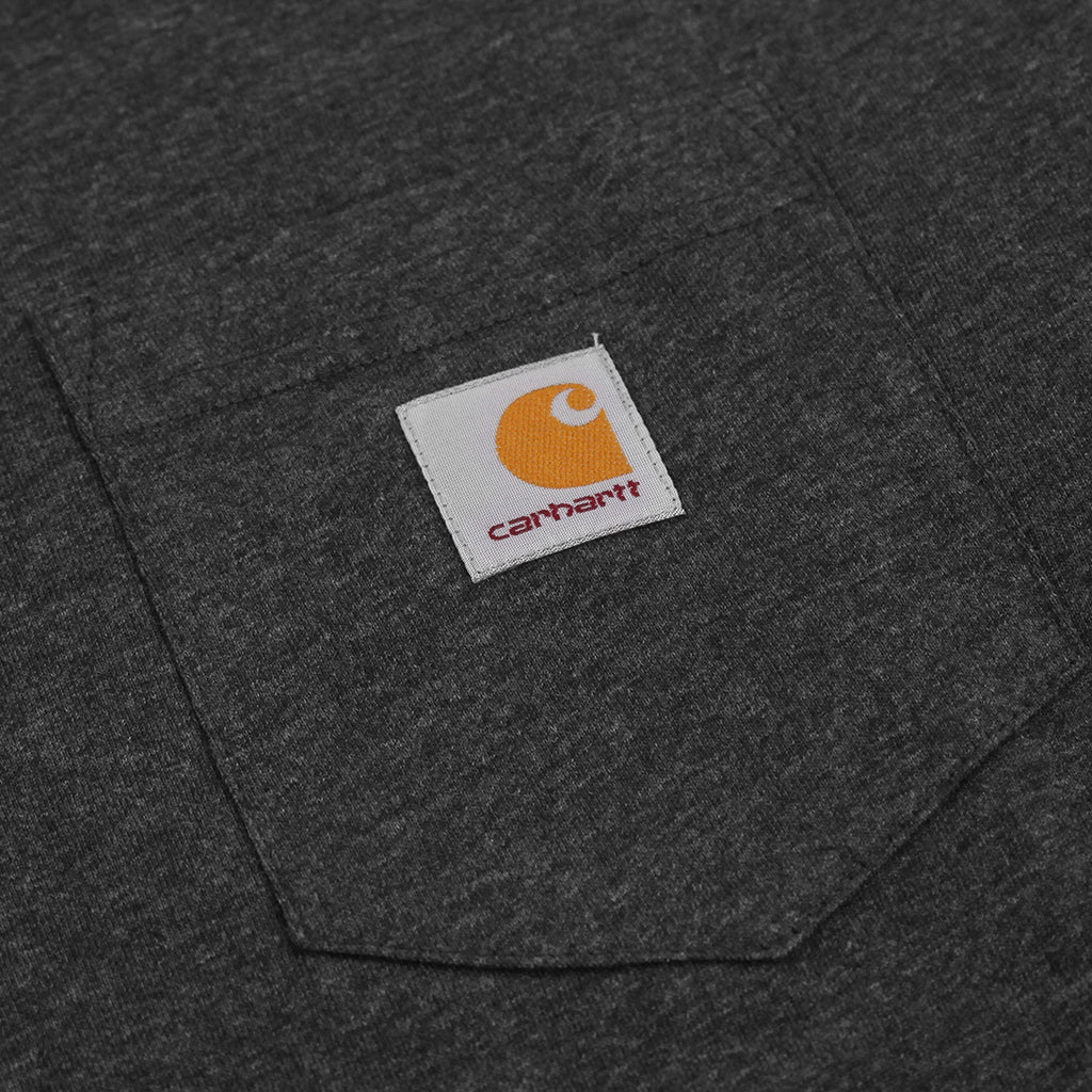 Carhartt L/S Pocket T Shirt in Black Heather - Pocket