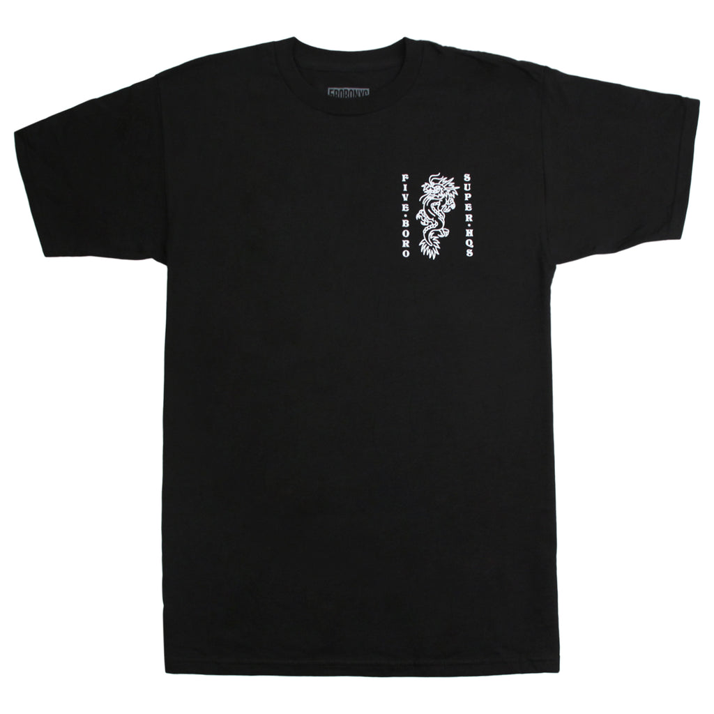 5Boro Dragon T Shirt in Black - Front