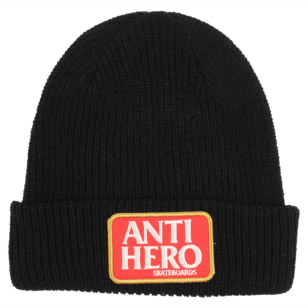 Anti Hero Skateboards Reserve Patch Beanie in Black