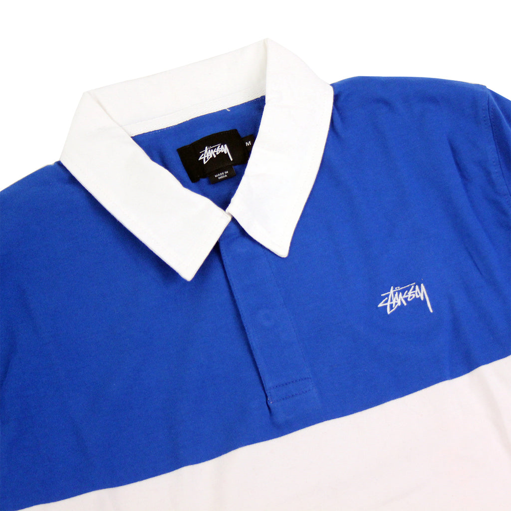 Stussy 3 Tone Polo in Navy - Detail