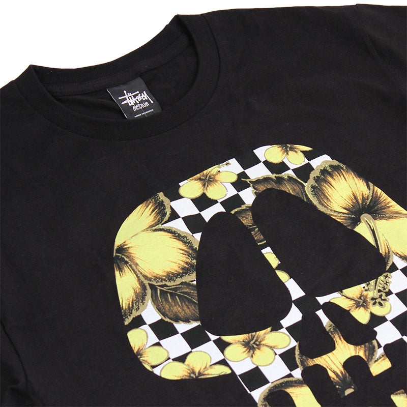 Stussy Flower Check Skull T Shirt in Black - Detail