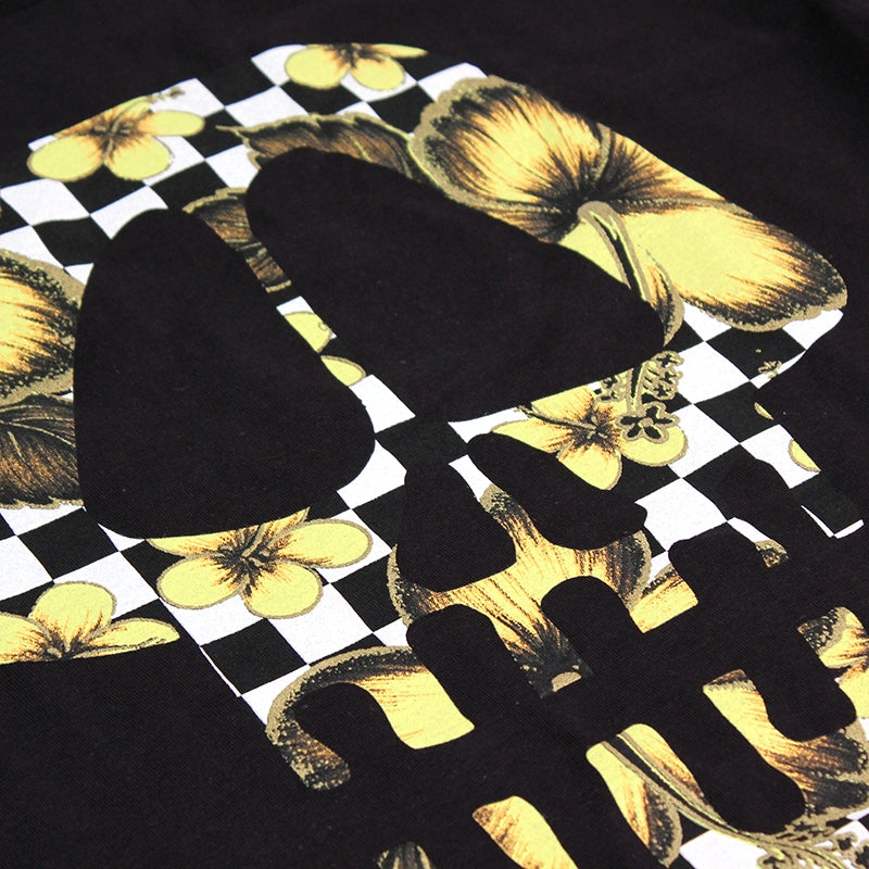 Stussy Flower Check Skull T Shirt in Black - Print